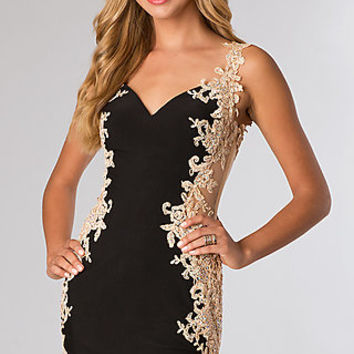 Short Sleeveless Lace Dress with Sheer Back from JVN by Jovani