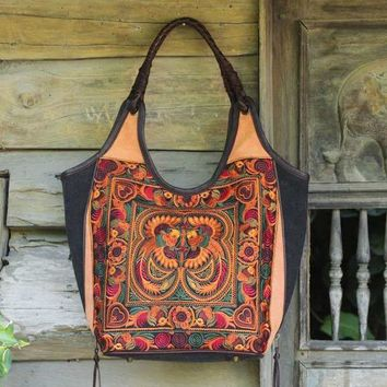 Handmade Leather Accent Polyester 'Sunny Pheasants' Embroidered Shoulder Bag (Thailand)