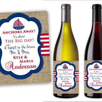 Nautical Wine Labels - Champagne Bottle Labels - Wedding Party Favors - Nautical Wedding - Mini Champagne Labels - Anchors Away
