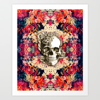 You are not here Day of the Dead Rose Skull. Art Print by Kristy Patterson Design