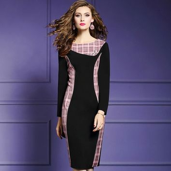 Black with Checkered Trim Pencil Long Sleeve Dress