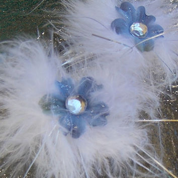 Feathery Hair Clips in White and Silver with Blue Flowers and Rhinestone Barrettes