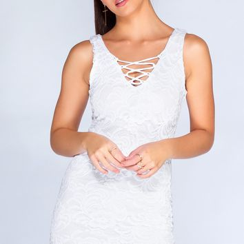 Say No More Lace Dress - White