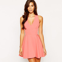 Peach Pink Sleeveless V-neck Bow Pleated Mini Dress