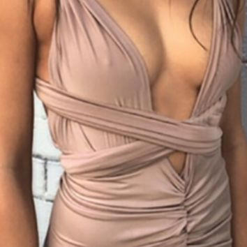 Beige Twist Strap Halter Plunge V Neck Ruched X Back Tie Sash Asymmetric Bodycon Maxi Dress
