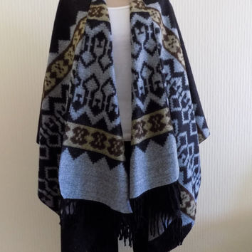 Black Cape,Tribal Poncho Outerwear , black Gray Coat Women Clothing Fashion Accessories Women Wear Aztec Poncho Ethnic Poncho Tribal Poncho