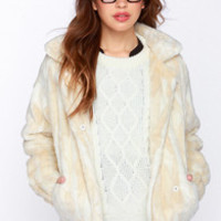 Aryn K Fur All to Envy Cream Faux Fur Coat