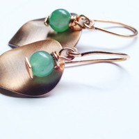 Green Quartz Earrings, Copper Earrings, Gemstone Drop Earrings