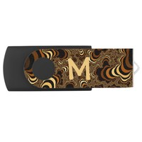 Cool brown stripped fractal. Monogram. Flash Drive