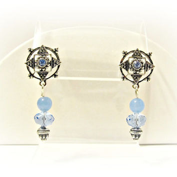 Art Deco Blue Crystal and Aquamarine Earrings - Wedding, Bridesmaid, Prom, Gift, Vintage Inspired