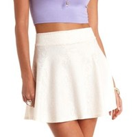 High-Waisted Bonded Lace Skater Skirt by Charlotte Russe - Ivory