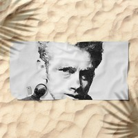 Black and white watercolor portrait Beach Towel by Mrnobody