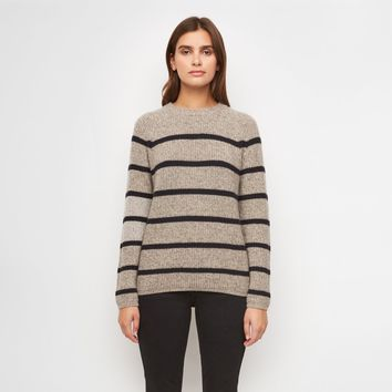 Cashmere Striped Fisherman Sweater - Heather Brown/Navy
