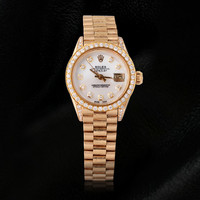 Rolex women president style watch yellow gold diamond mop dial