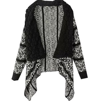 Shawl Irregular Shawl Collar Vintage Fashion Cardigan Sweater