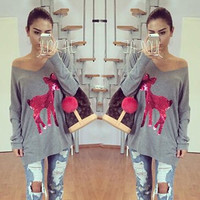 Christmas Clothing Gray long sleeve sequined beads deer Women Long Sleeve Knitwear Jumper Pullovers Long Casual Sweater Pullover