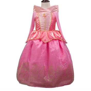 Toddler Girls Summer Costume Dresses Sleeping Beauty Aurora Princess Costume Party Clothing Long Sleeve Dress Trolls Clothes