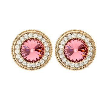 Pink Orange and Clear Austrian Crystals Halo Stud Earrings in 16K Gold Plated