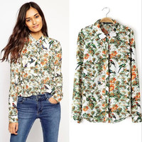 Summer Floral Long Sleeve Shirt Tops Blouse [6050174721]