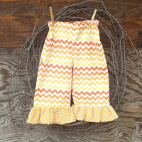 Girls ruffled pants, size 6, 12, months 2 ,3, 4 toddler , Chevron Orange and Yellow, fall, thanksgiving,