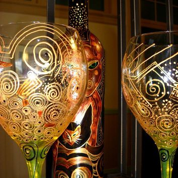 Made To Order Hand Painted Wine Glasses, Painted Glassware Amber Gold Scroll Wine