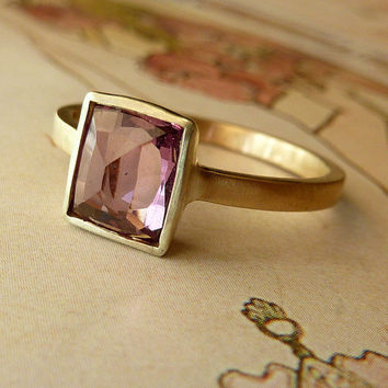 Rose Cut Rectangle Plum Sapphire Ring