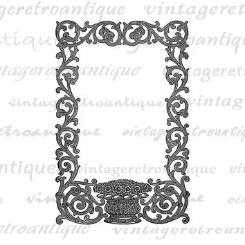 Elegant Floral Frame Printable Digital Download Border Graphic Antique Image Vintage Clip Art Jpg Png Eps  HQ 300dpi No.108