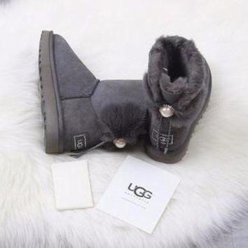 ONETOW Ugg 1001734 Waterproof Antifouling Gray Classic II Mini Boot Sheepskin Boots Snow Boots