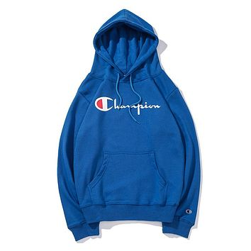 Champion women's and men's classic embroidered print logo hoodie F-CP-ZDL-YXC Blue