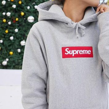 Supreme Casual Letter Print Long Sleeve Hoodie Pullover Sweatshirt Top Sweater