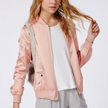 Missguided - Satin Bomber Jacket Salmon Pink