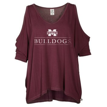 Official NCAA Mississippi State University Bulldogs HAIL STATE BULLY Women's Cold Shoulder T-Shirt