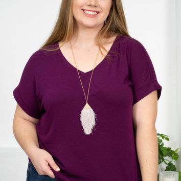 Stretchy Cuffed Sleeve V-Neck Top | Plus | Purple