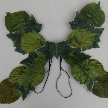 Leafy Fairy Wings for Woodelves, Forest Spirits, Male Fairies, or Pixies Adult Size Woodsy Fairy Wings Made from recycled milk jug