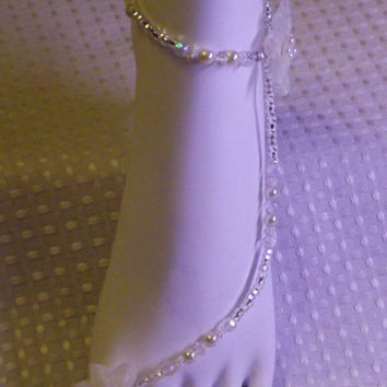 20% OFF Beach Wedding Foot Jewelry Barefoot Sandals Anklet Rhinestone Beach Sandals Beach Jewelry