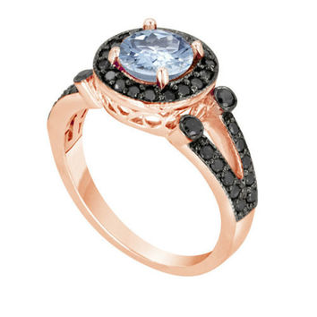 14k Rose Gold Aquamarine & Black Diamond Cocktail Ring 1.52 Carat Unique Halo HandMade Birth Stone
