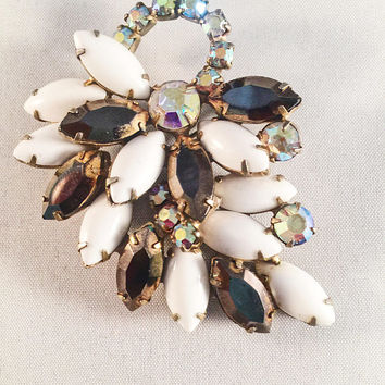 White Milk Glass Brooch With Amber And Rhinestone Accents, Marquise Stones, Vintage Jewelry, Statement Piece