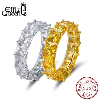 Effie Queen 925 Sterling Silver Ring For Women Crystal Engagement Wedding Jewelry Couple Rings For Lover Size 6 7 8 9 BR48