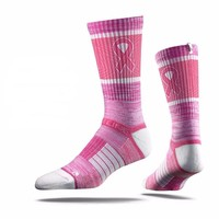 Strideline 2.0 Breast Cancer Awareness Hot Pink White Ribbon Crew Socks