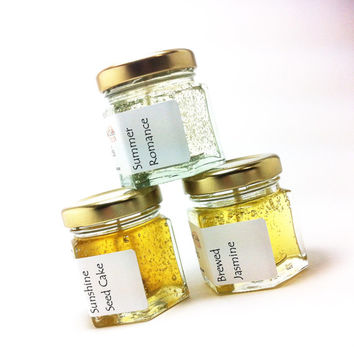 Cheerful Candles Gift Sets, Unique Get Well Gift, Scented Candles Jasmine, Gel Home Fragrance, Modern Yellow Decor