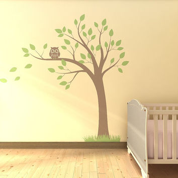 Tree with Owl Nursery Vinyl Wall Decal by QlassicWalls on Etsy
