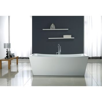 70-inch Contemporary Freestanding Acrylic Bathtub (White)