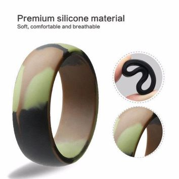 8mm Camou Flexible Sports Gym Hunting Fishing Duck Silicone Wedding Band Ring