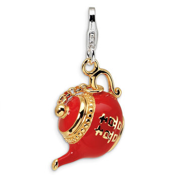 Sterling Silver Gold-plated Red Enameled Tea Pot w/Lobster Clasp Charm QCC267