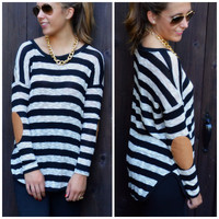 Upper East Side Black Striped Elbow Patch Top