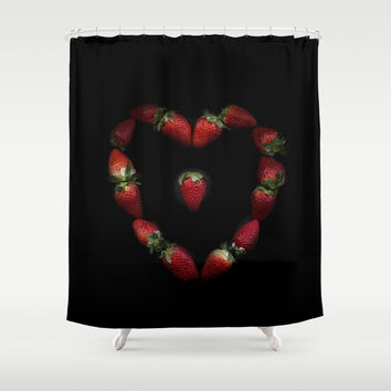 Heart of strawberries Shower Curtain by vanessagf