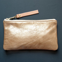 CHAMPAGNE Gold Metallic Leather Wallet. Gold and  Peach Clutch. Metallic Clutch