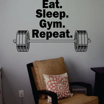 Eat Sleep Gym Repeat Quote Fitness Design Decal Sticker Wall Vinyl Art Home Room Decor