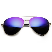 Large Premium Metal Mirrored Lens Aviator Sunglasses 1374