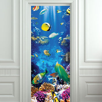 "Door STICKER aquarium fish sea underwater mural decole film self-adhesive poster 30""x79""(77x200 cm)"
